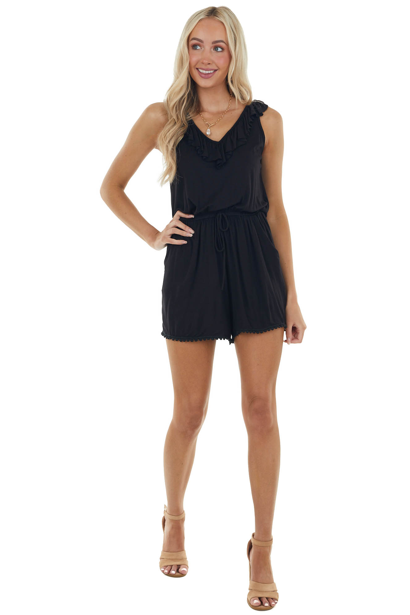 Black Sleeveless Romper with Lace Trim Details