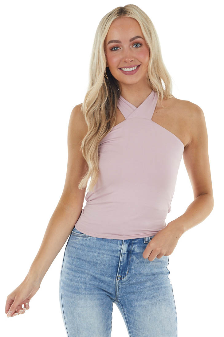 Pale Rose Soft Knit Halter Top with Criss Cross Back Tie