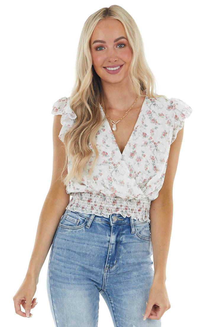 Ivory Ditsy Floral Swiss Dot Blouse with Smocked Waist