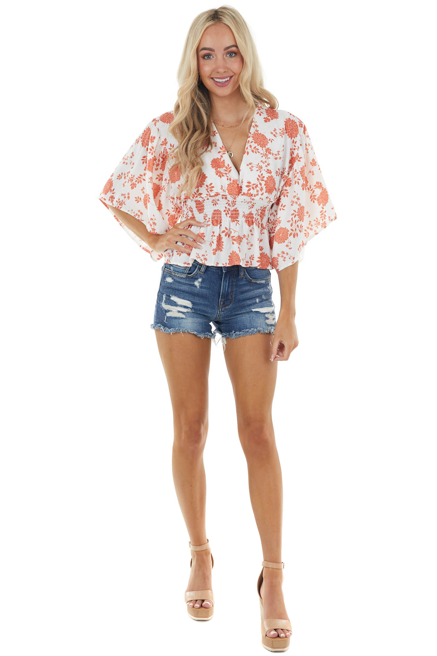 Burnt Orange and Off White Floral Blouse with Kimono Sleeves
