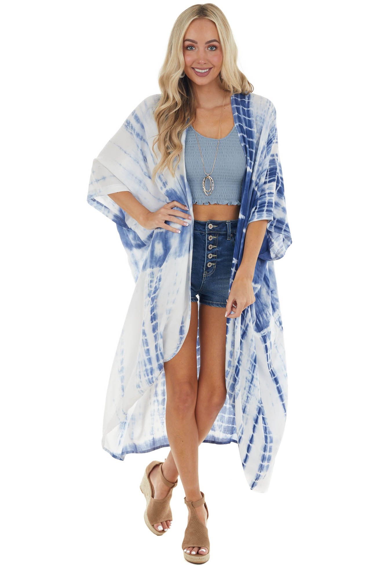 Navy and Pearl Tie Dye Open Front 3/4 Sleeve Woven Kimono