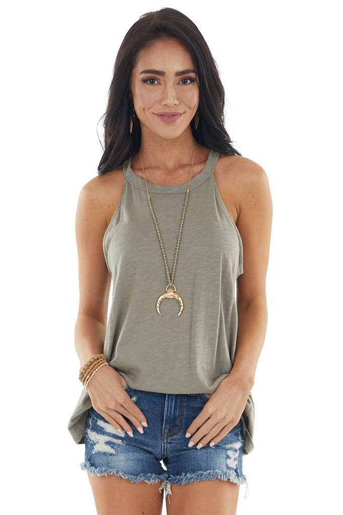 Sage Two Tone Sleeveless Halter Top with Rounded Hemline