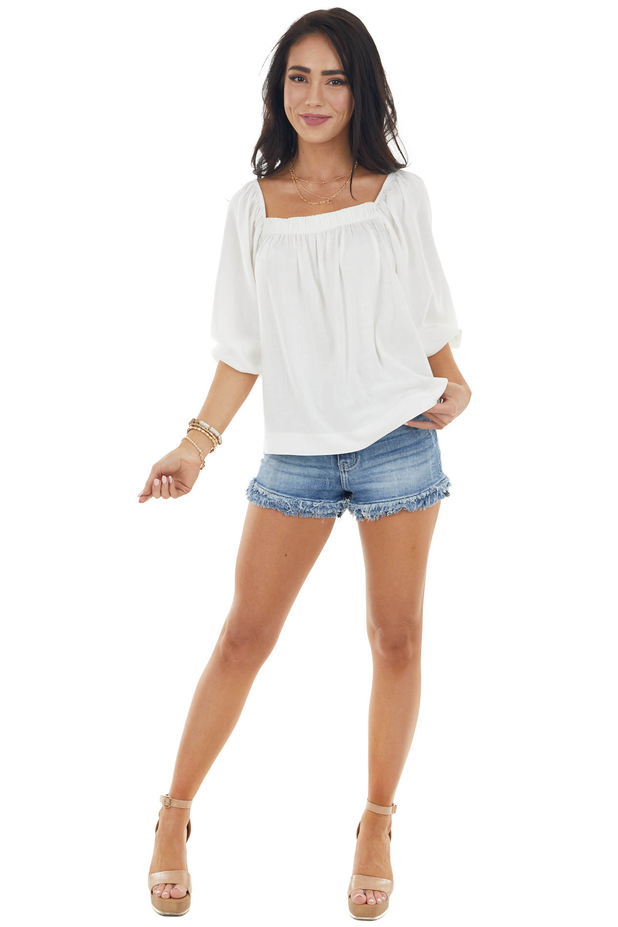 Ivory Half Length Bubble Sleeve Blouse with High Low Hemline