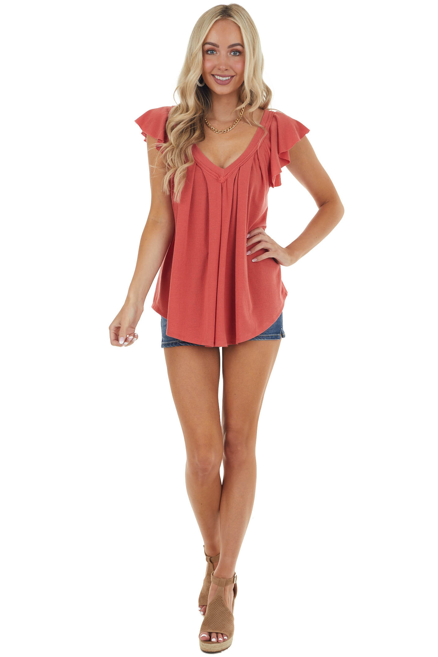 Bright Marsala Pleated Flutter Sleeve Knit Top with V Neck