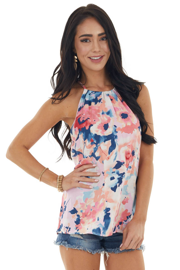 Coral Floral Print Halter Top with Keyhole Detail