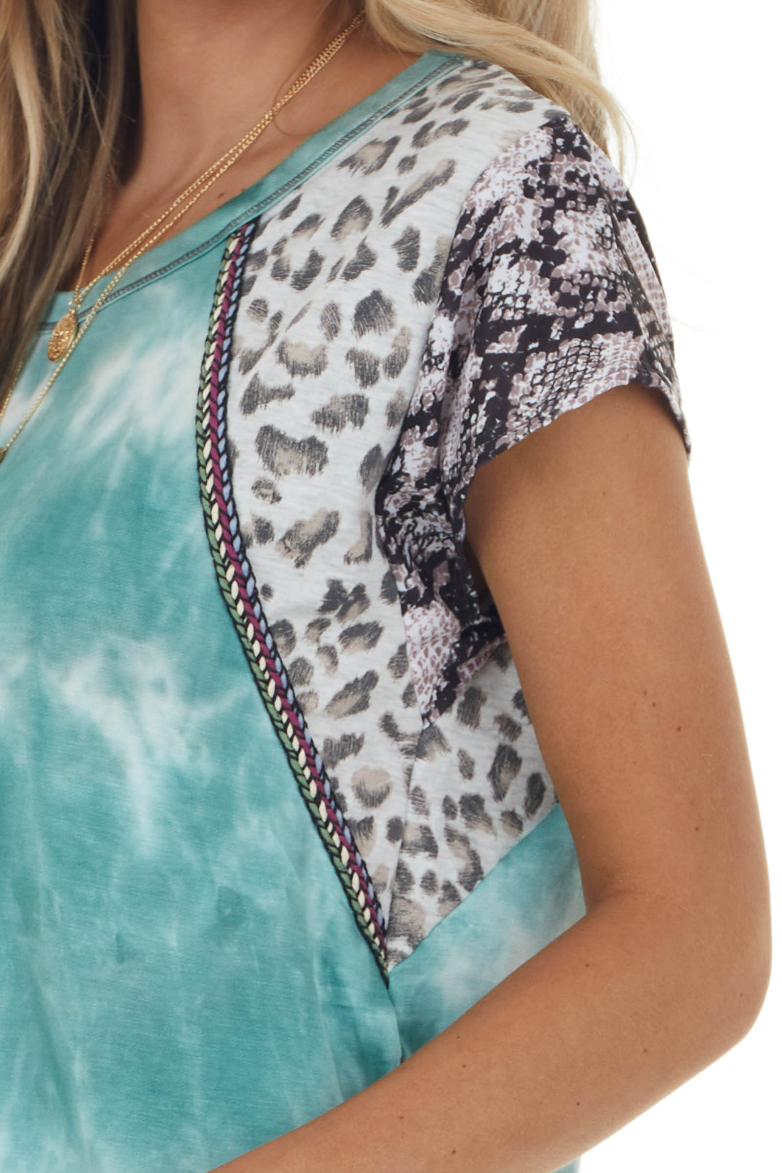Pine Tie Dye Top with Multiprint Sleeves and Embroidery