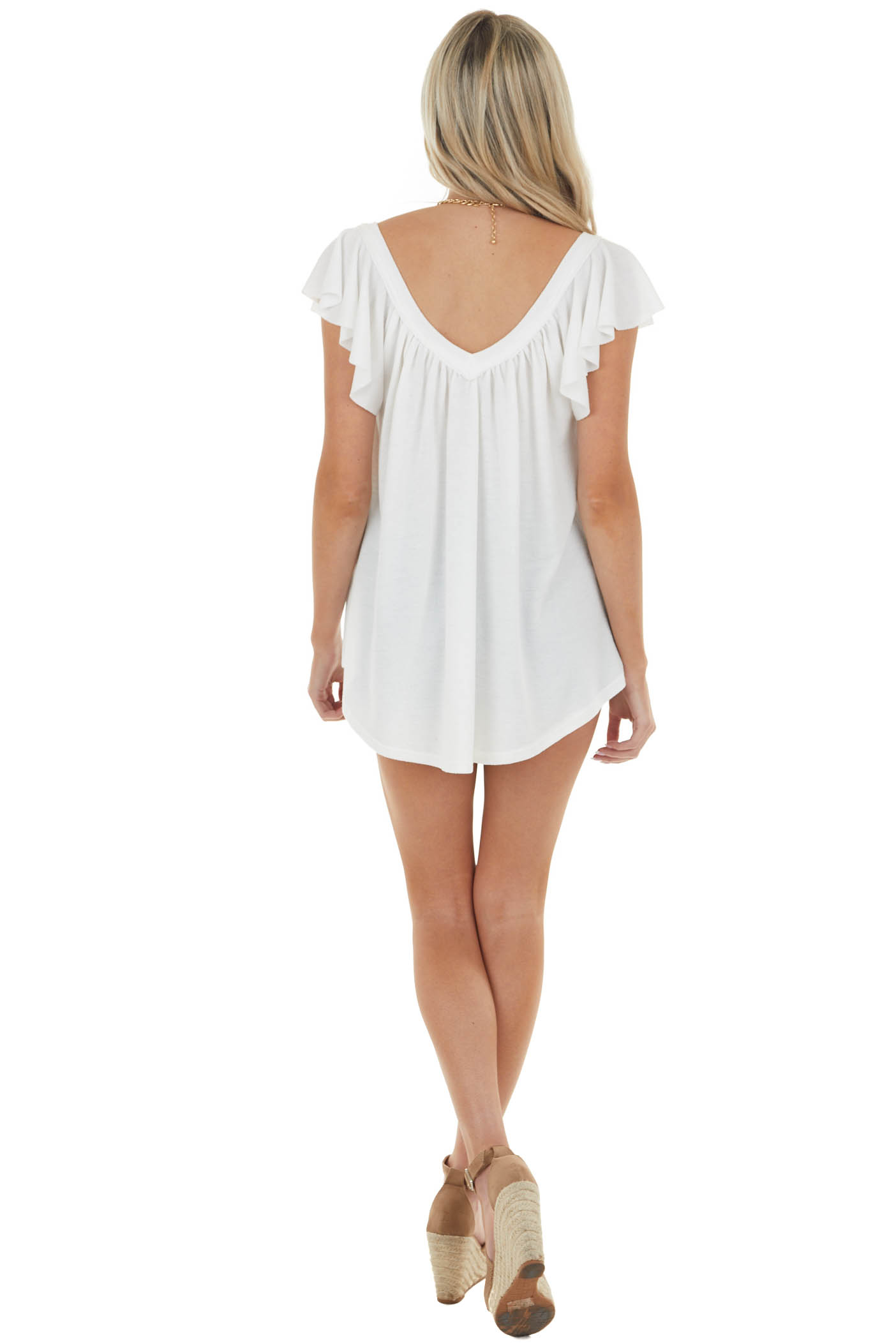Ivory Pleated Flutter Sleeve Knit Top with V Neck