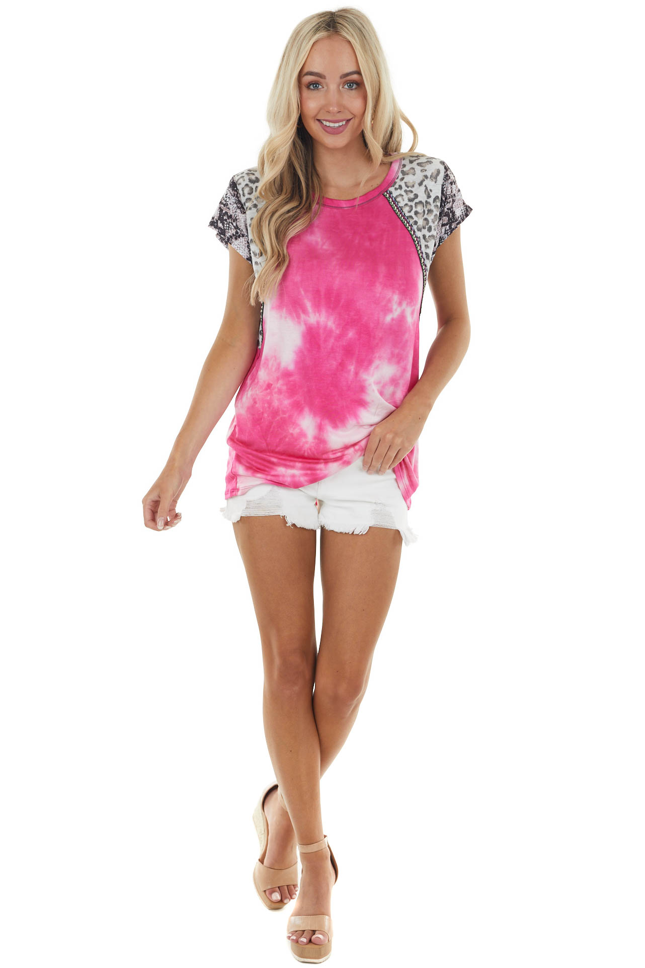 Melon Tie Dye Top with Multiprint Sleeves and Embroidery