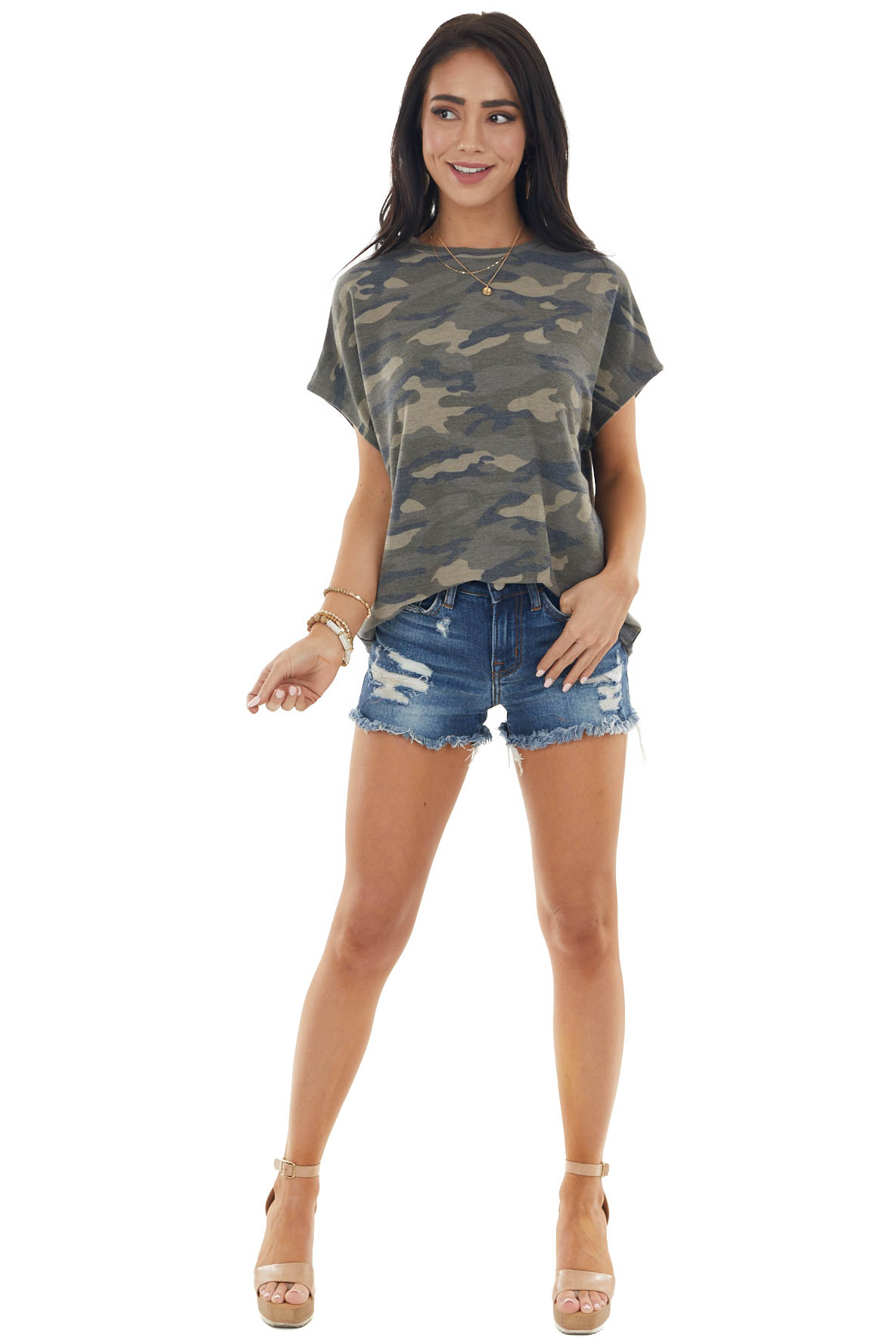 Army Green Camo Print Knit Top with Distressed Back Detail