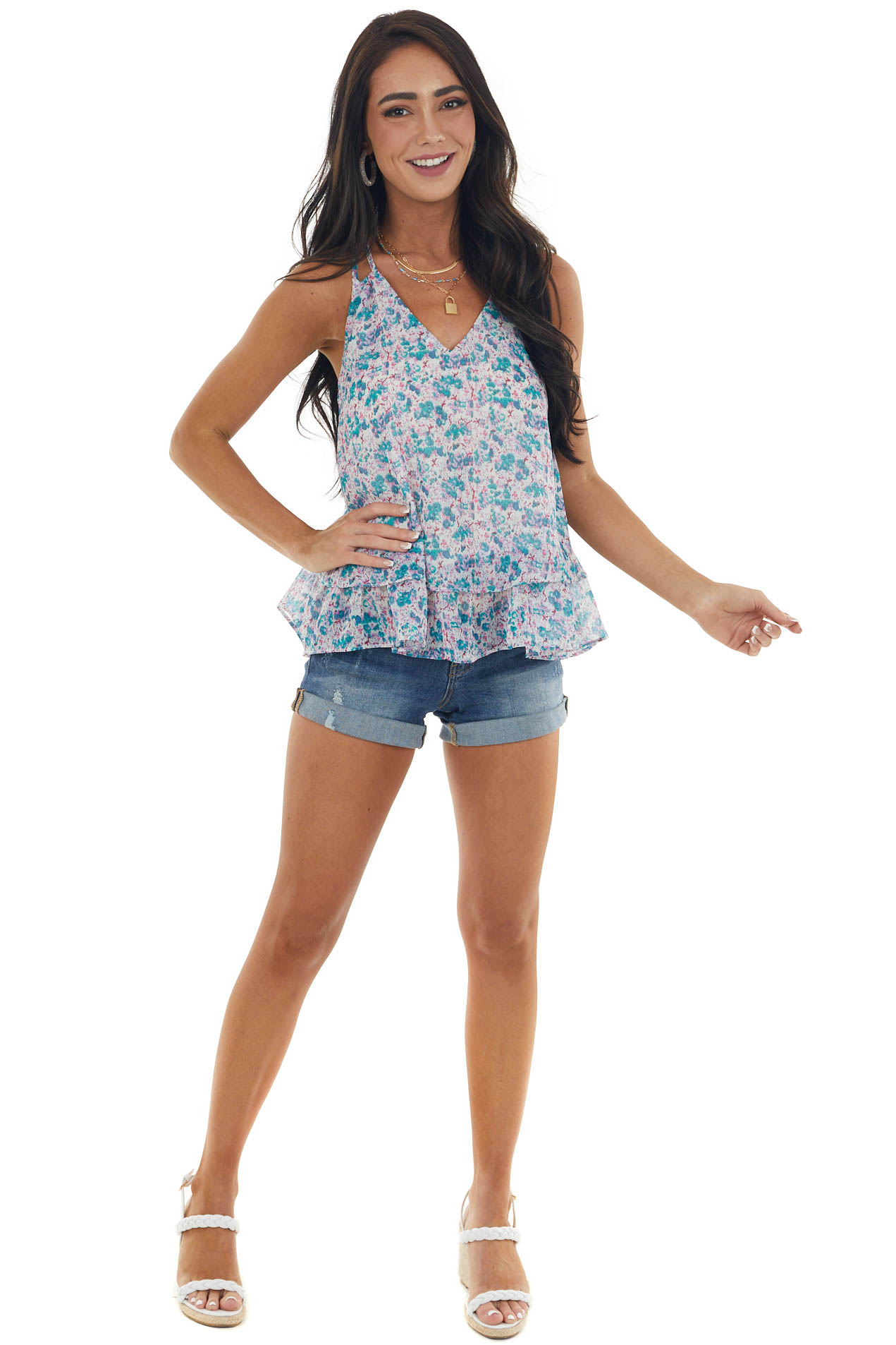 Juniper Abstract Print Tiered Woven Tank Top with Dual Strap