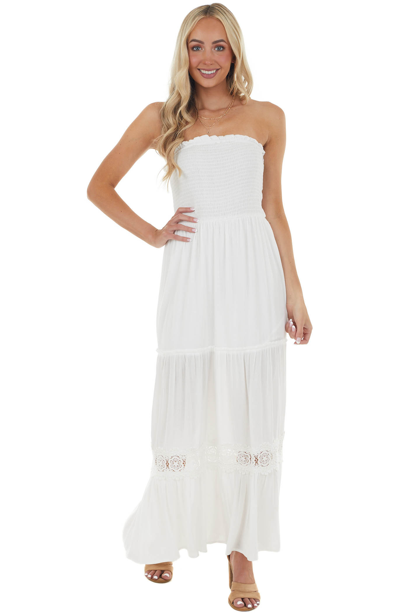 Ivory Tube Top Maxi Dress with Smocked and Lace Details