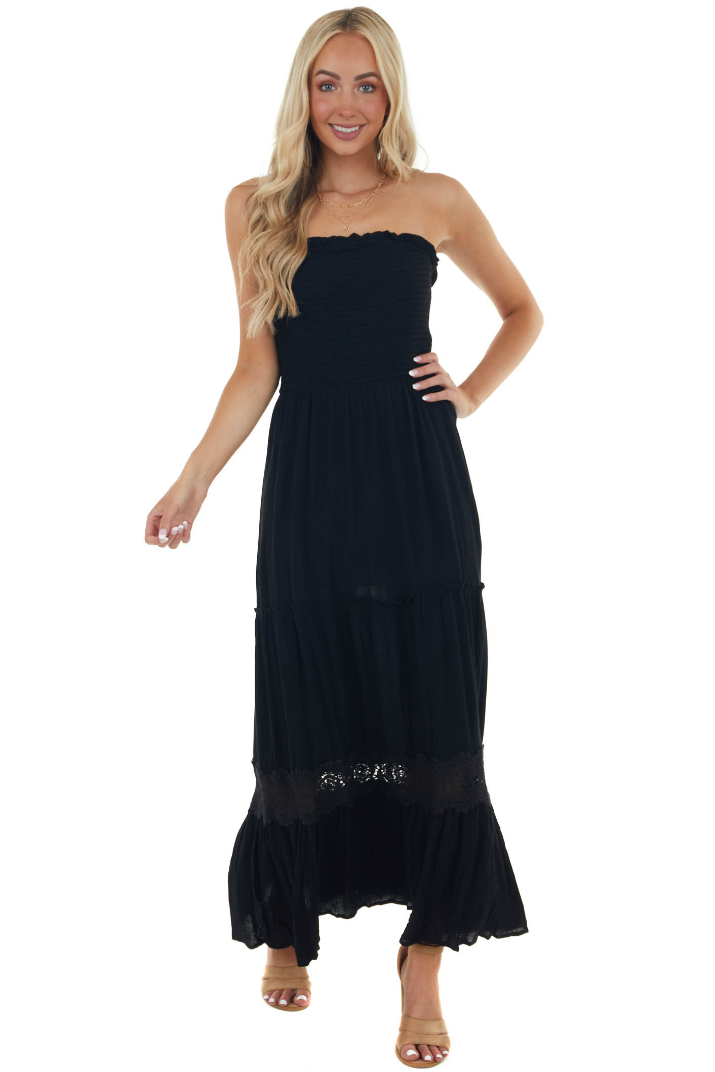 Black Strapless Maxi Dress with Smocked and Lace Details