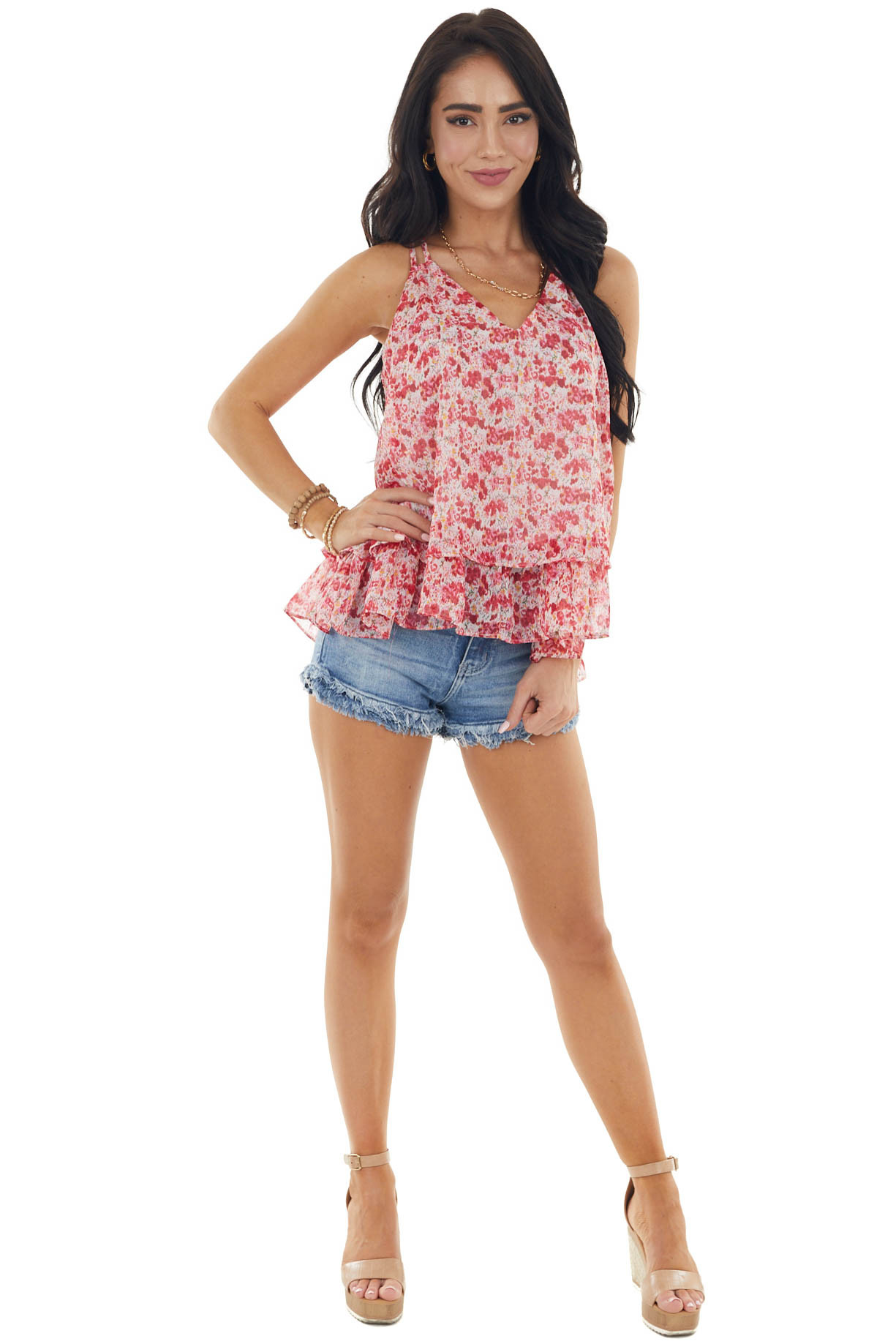 Cranberry Abstract Tiered Woven Tank Top with Dual Strap