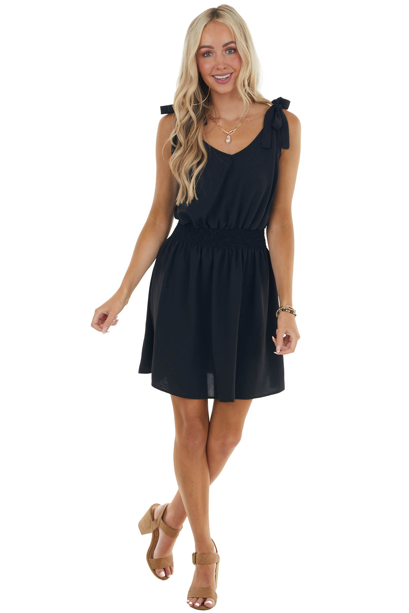 Black Woven Mini Dress with Smocked Waist and Tie Straps