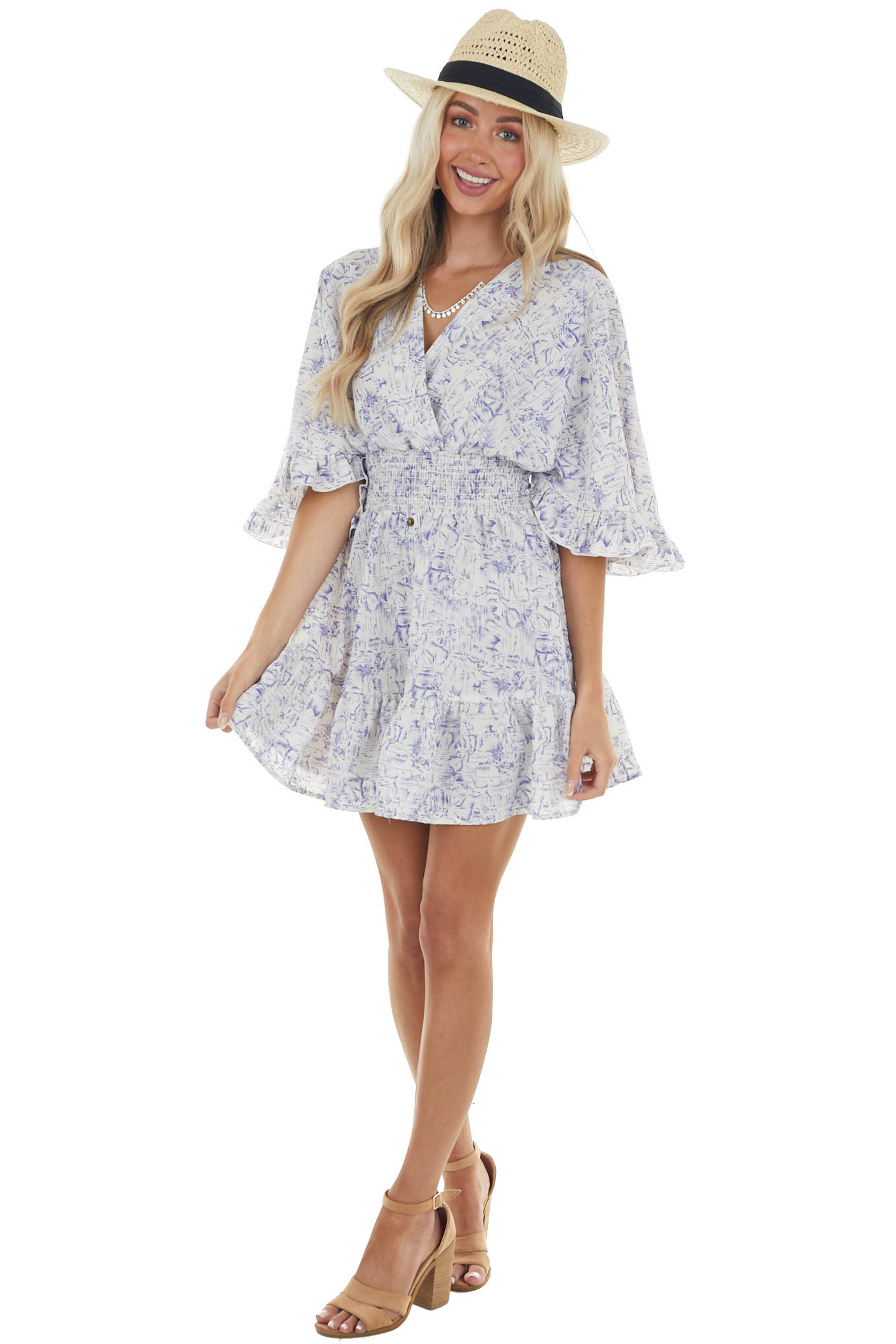 Pearl and Navy Abstract Print Short Woven Dress with Ruffles