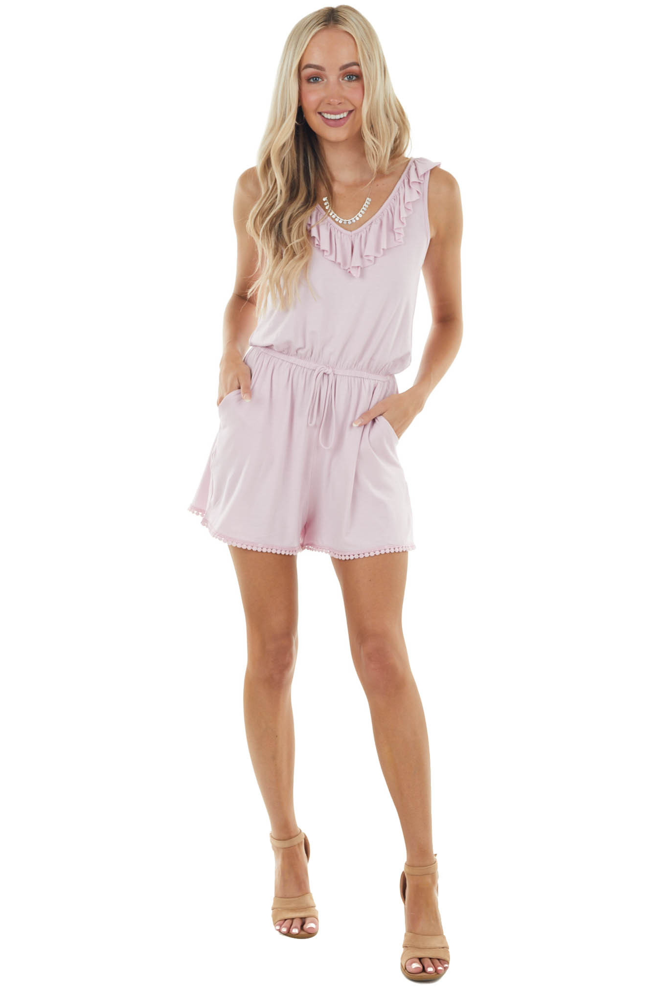 Cherry Blossom Sleeveless Romper with Lace Trim Details