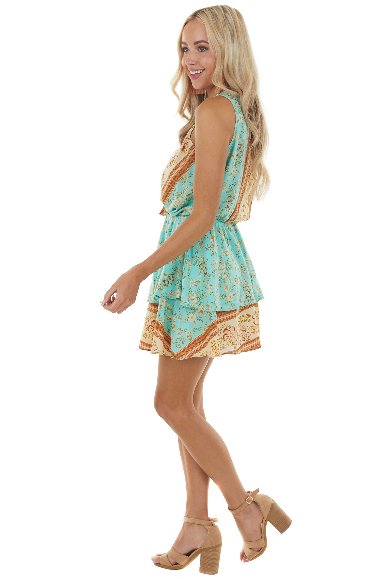 Turquoise Floral Print Sleeveless Tiered Surplice Mini Dress