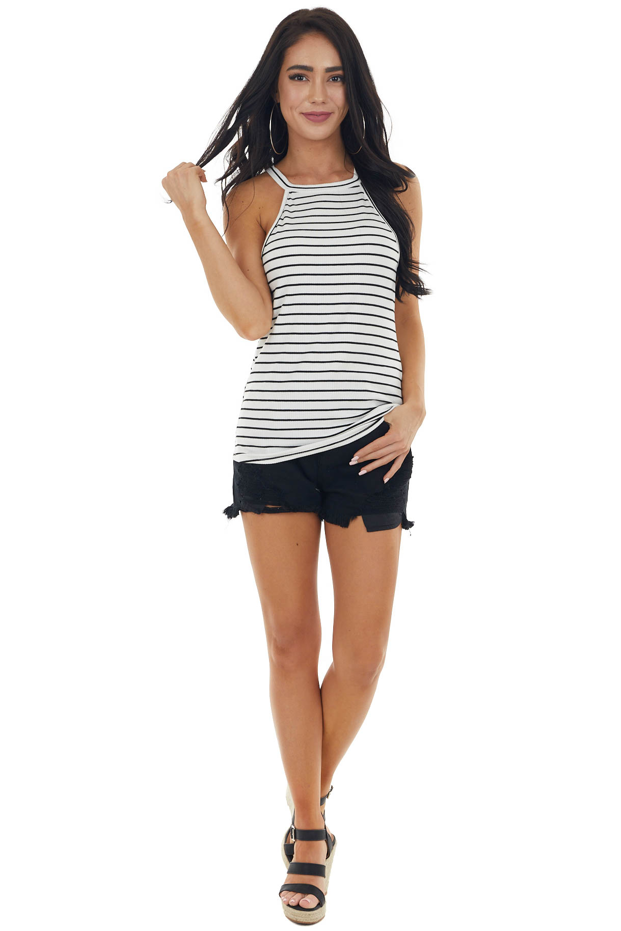 Ivory Striped Ribbed Sleeveless Halter Top with High Low Hem