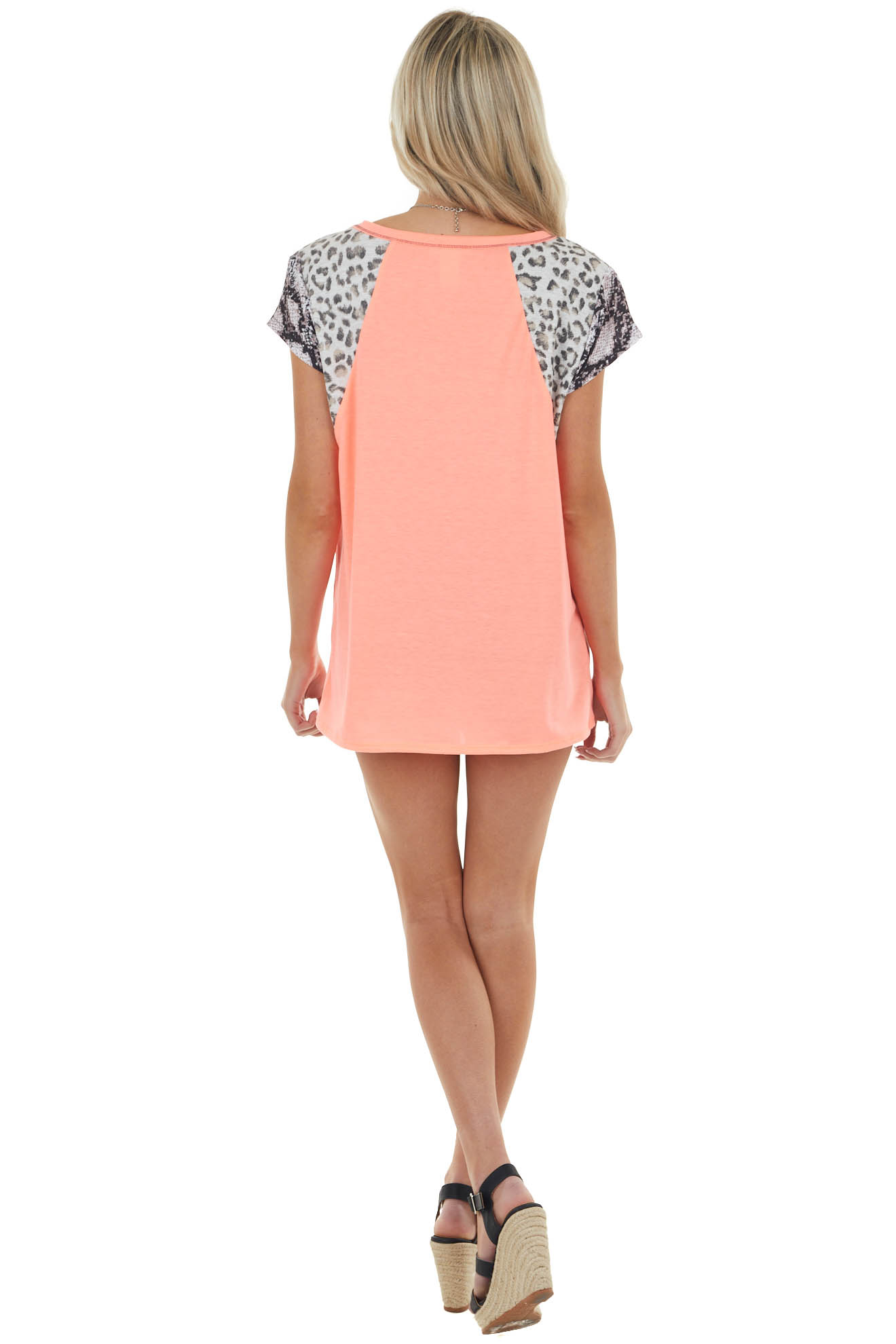 Neon Coral Knit Top with Multiprint Sleeves and Embroidery