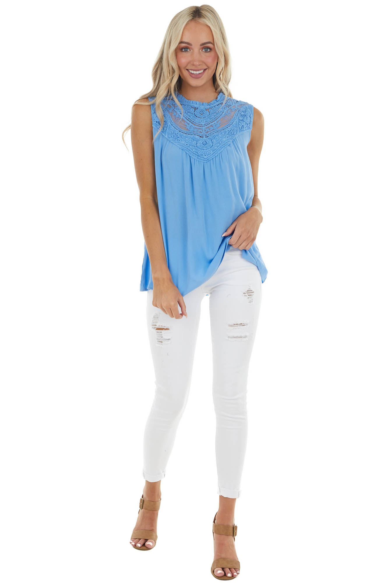 Light Saphire Sleeveless Top with Crocheted Neckline Detail