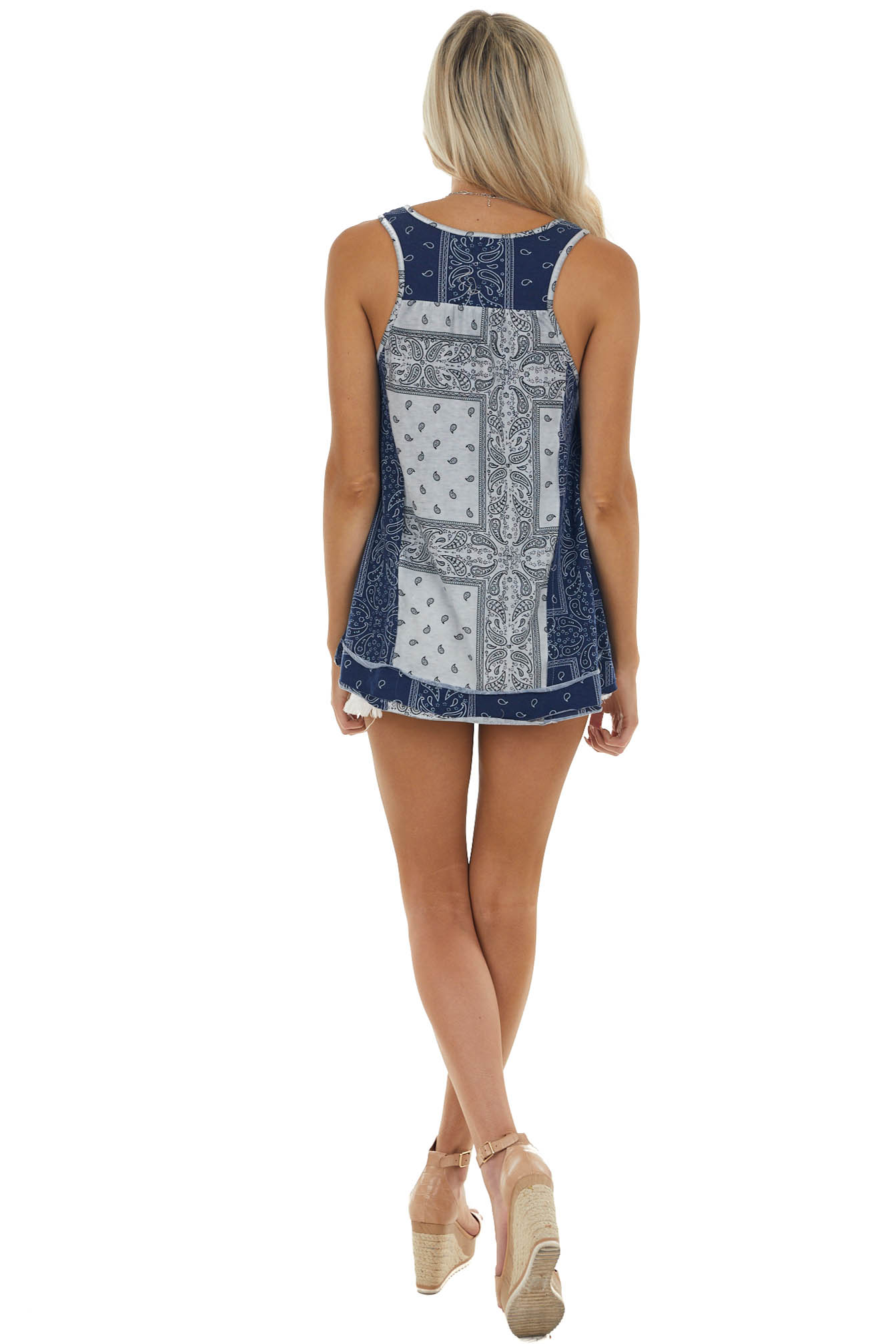 Navy and Slate Grey Paisley Print Button Up Knit Tank Top