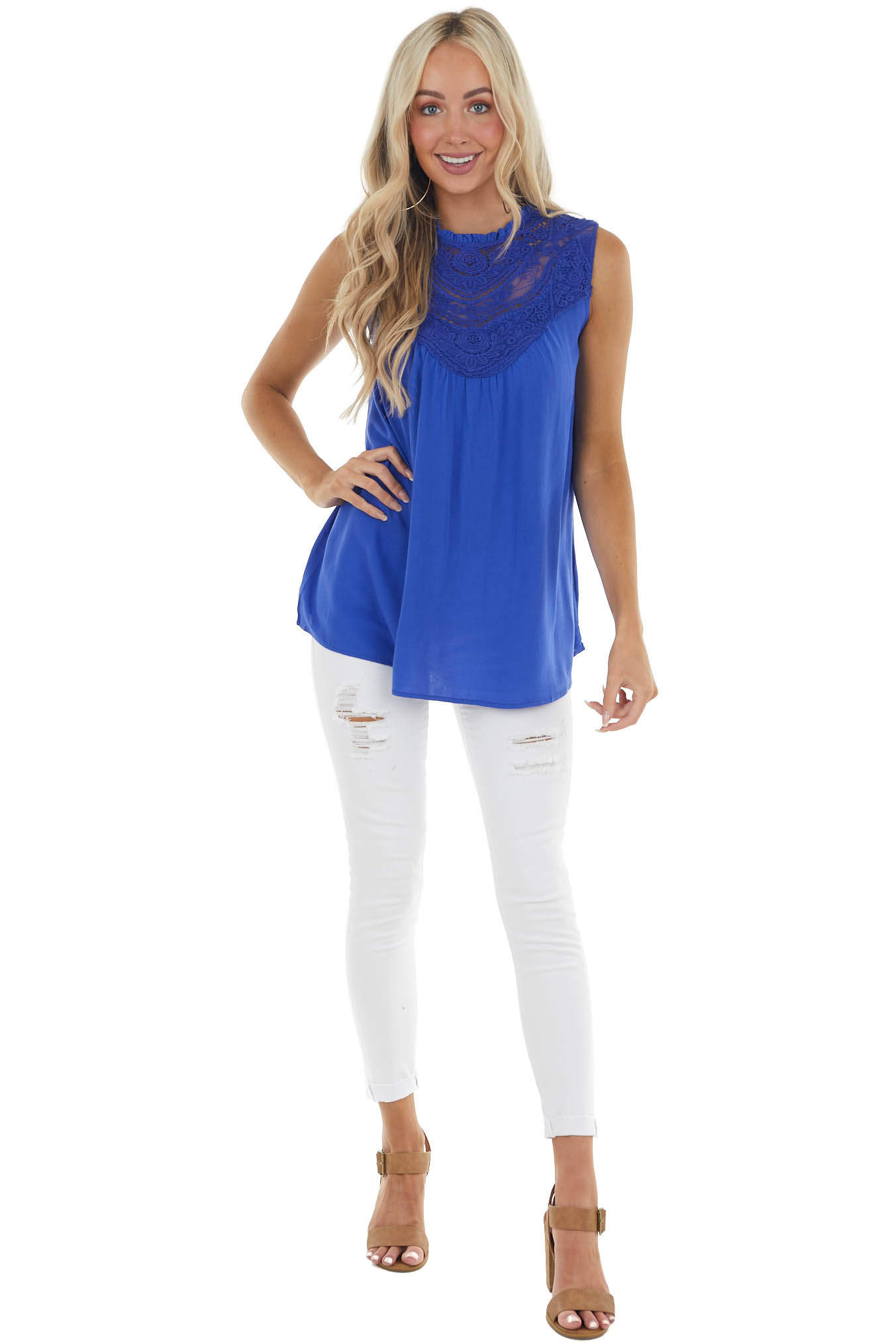 Catalina Blue Sleeveless Top with Crocheted Neckline Detail