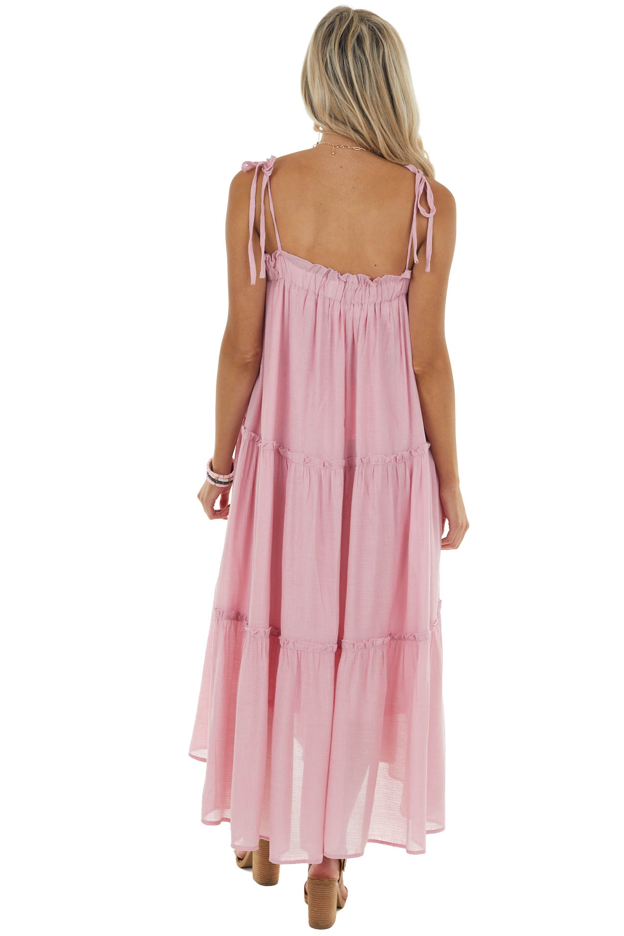 Cherry Blossom Sleeveless Midi Dress with Tiered Details