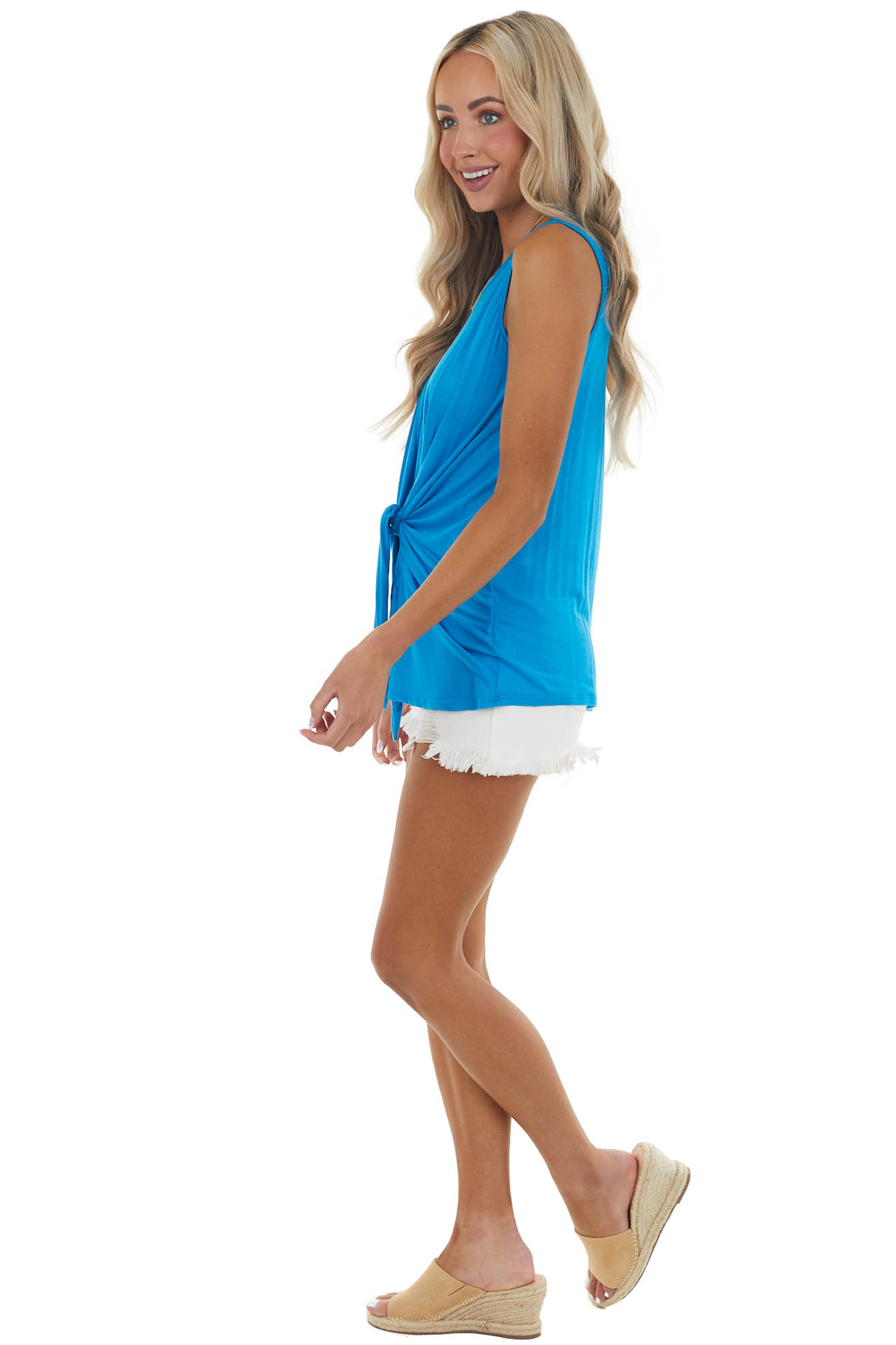 Cobalt Blue Sleeveless Knit Top with Front Tie Detail