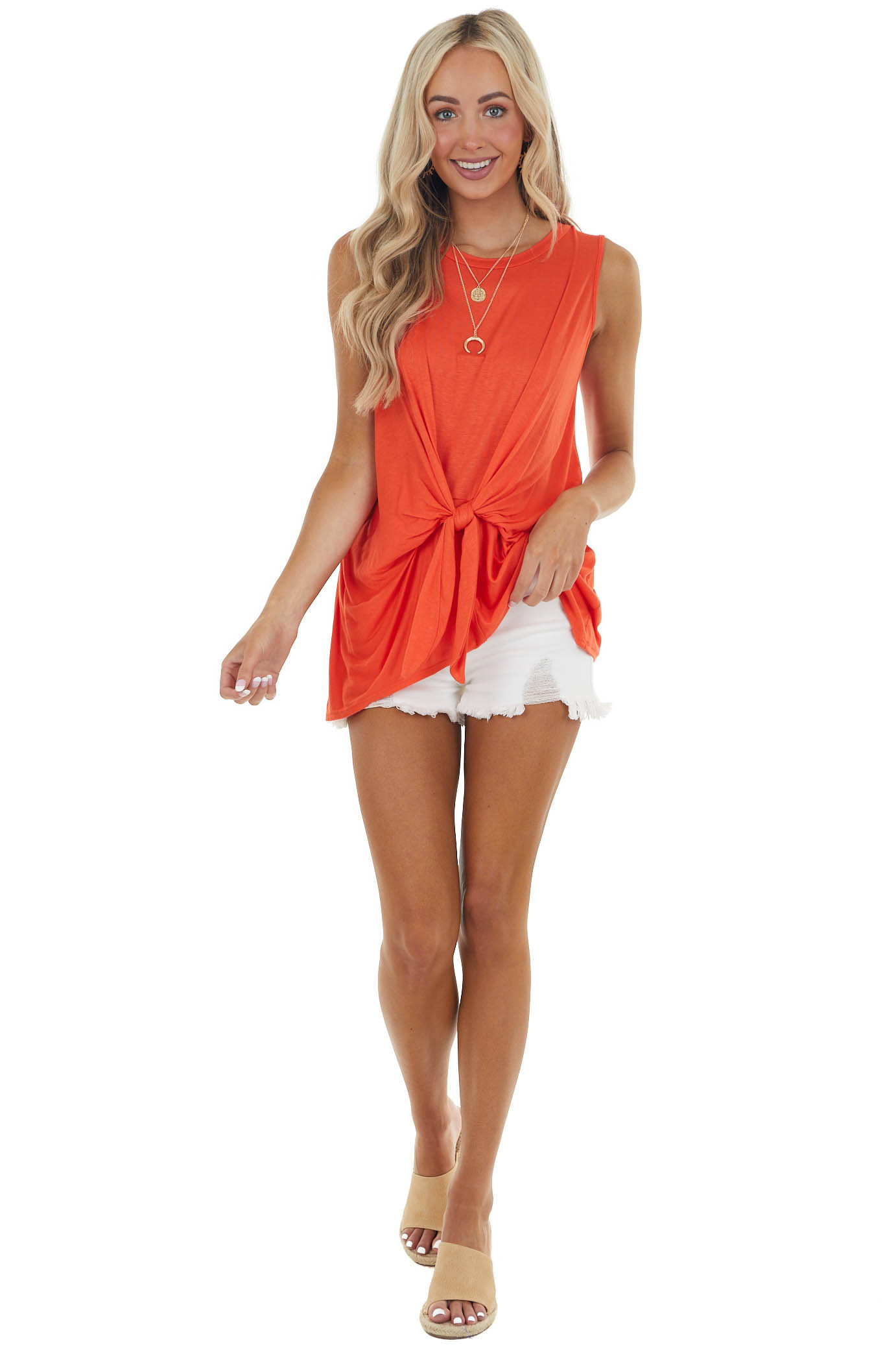 Neon Orange Sleeveless Knit Top with Front Tie Detail