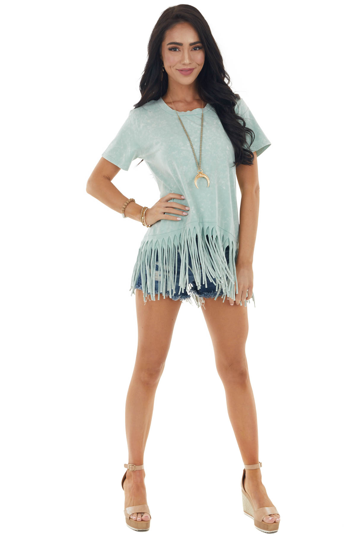 Mint Mineral Washed Short Sleeve Knit Top with Fringed Hem