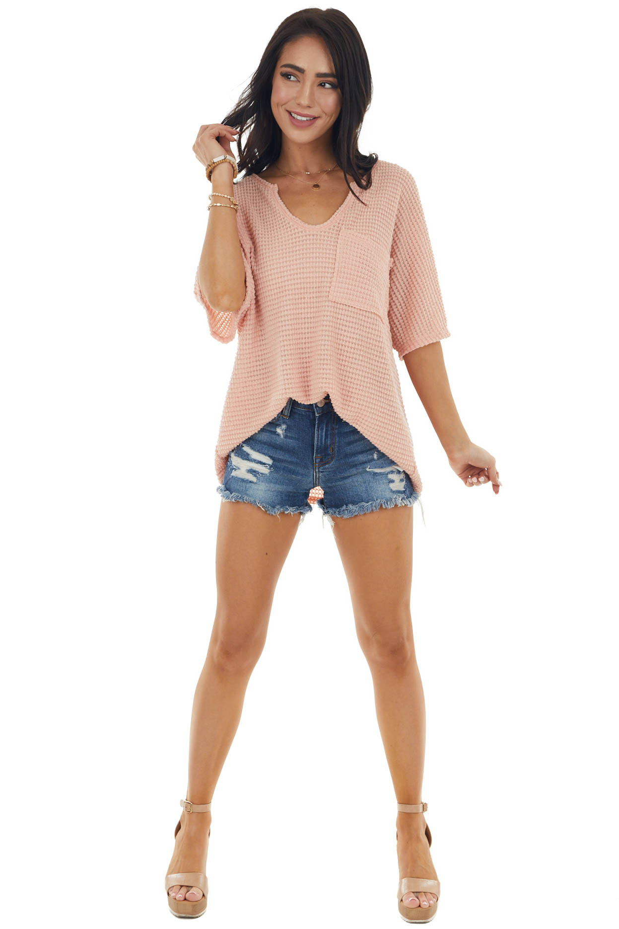 Apricot Waffle Knit Short Sleeve Top with Front Pocket Detail