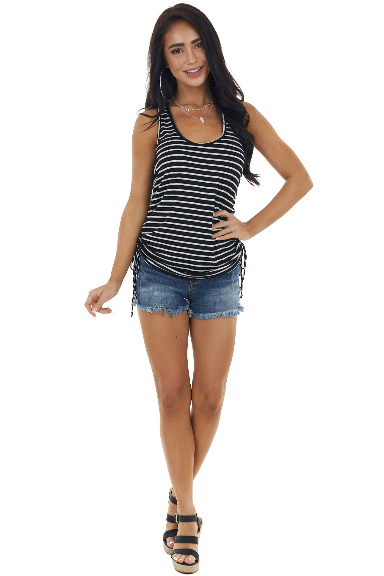Black Striped Sleeveless Top with Ruched Side Detail