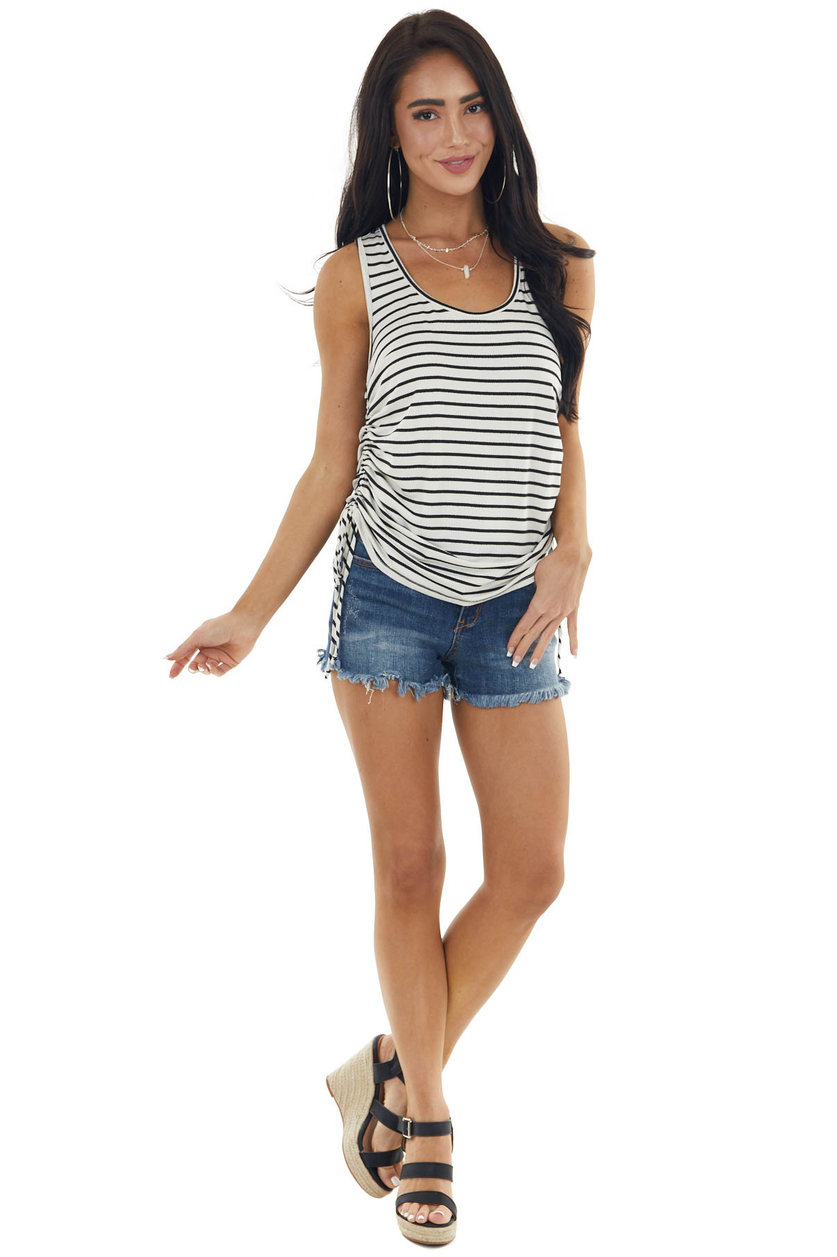 Ivory Striped Sleeveless Top with Ruched Side Detail