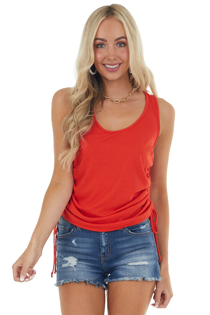Lipstick Red Ribbed Sleeveless Top with Ruched Side Detail