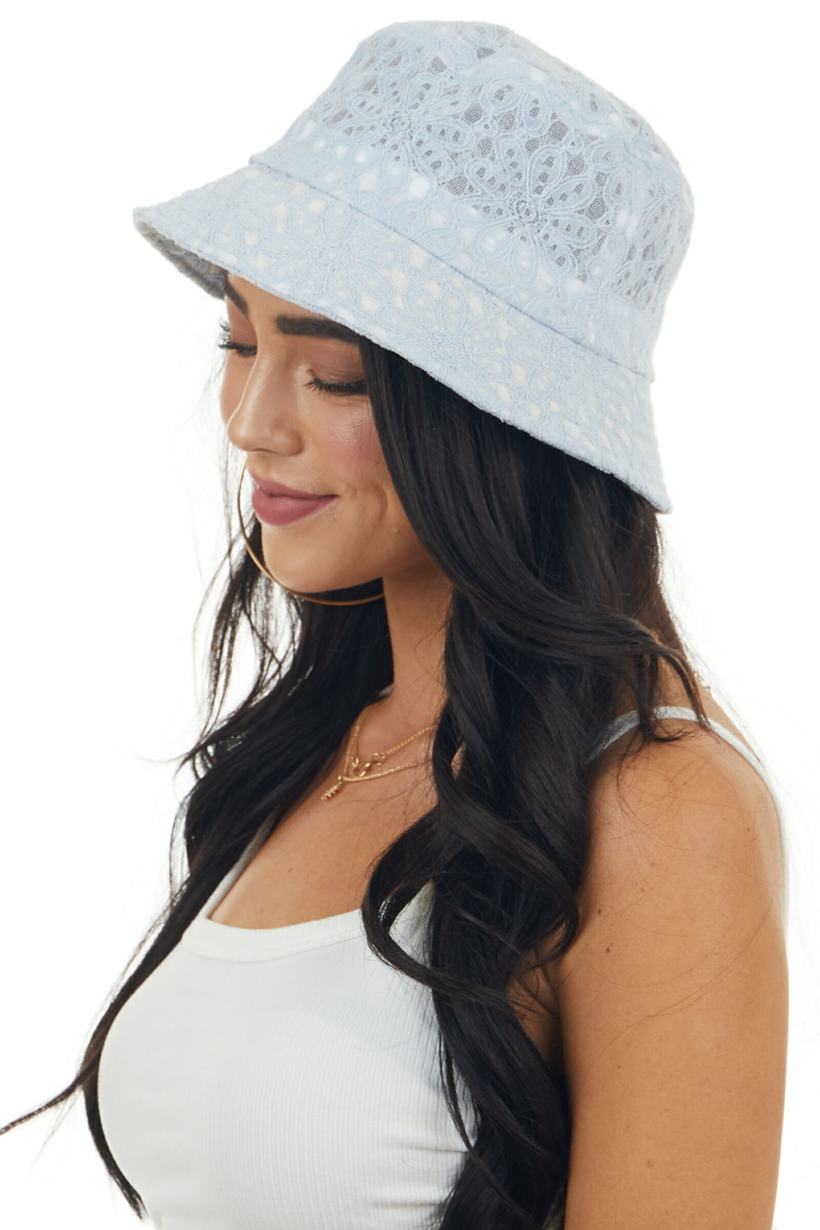 Powder Blue Floral Lace Bucket Hat with Sheer Mesh Details