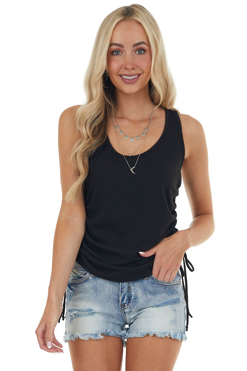 Black Ribbed Sleeveless Top with Ruched Side Detail