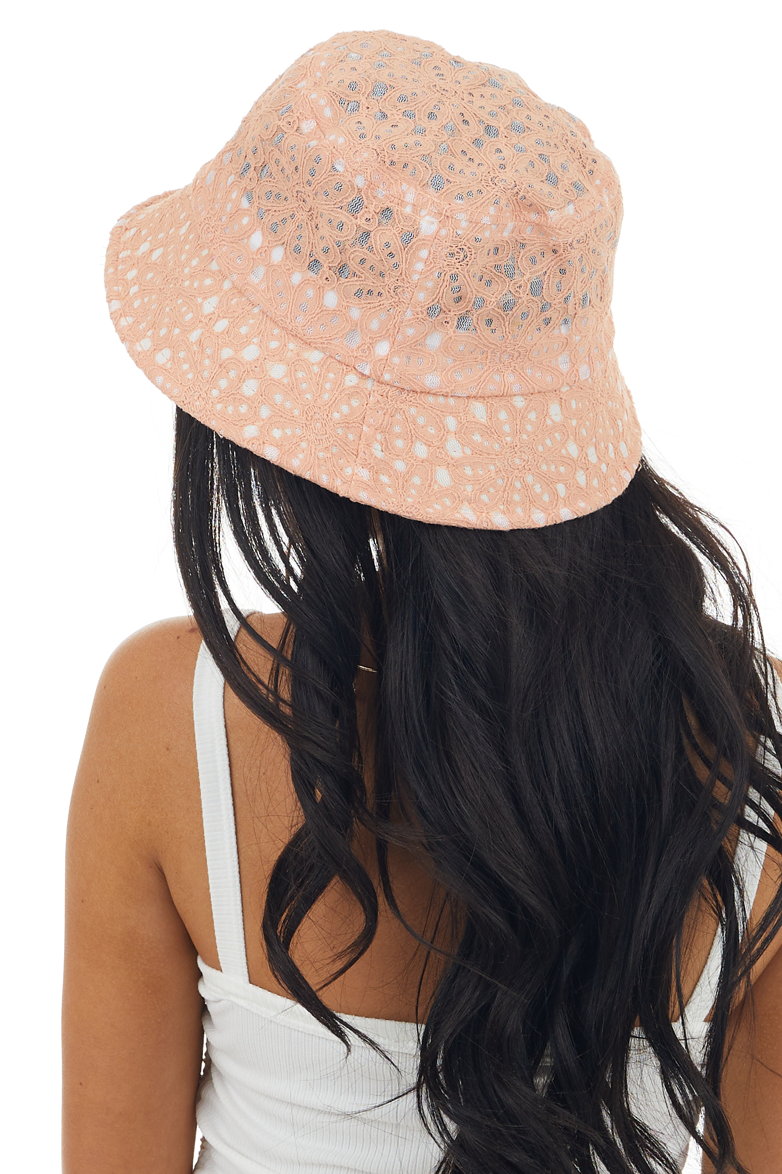 Dark Peach Floral Lace Bucket Hat with Sheer Mesh Details