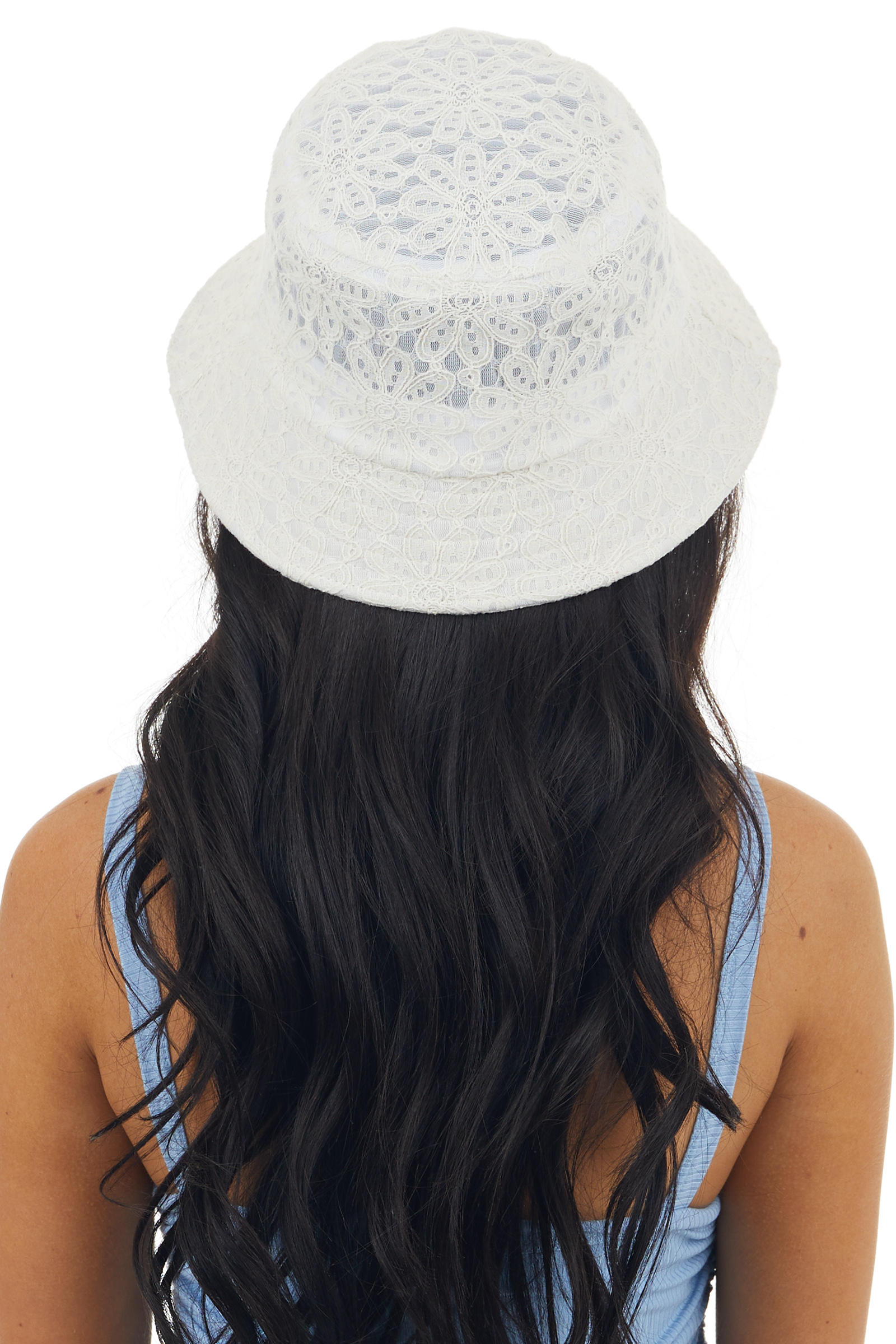 Ivory Floral Lace Bucket Hat with Sheer Mesh Details