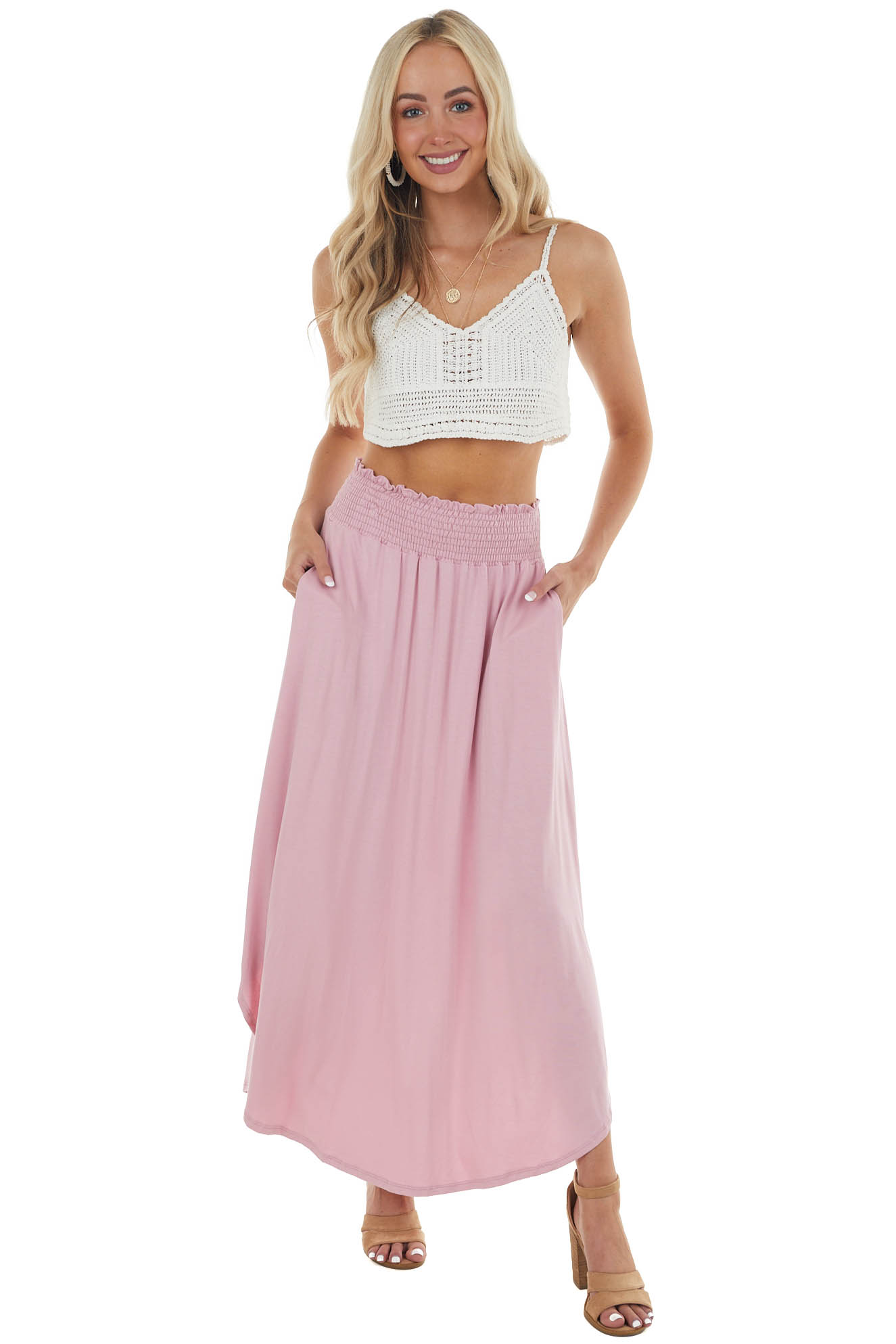 Baby Pink Maxi Skirt with Smocked Waist and Rounded Hemline