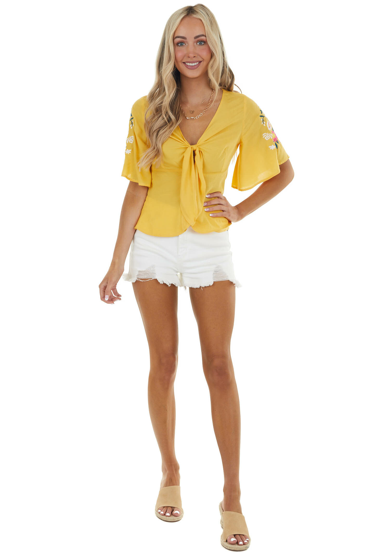 Amber Woven Front Tie Top with Floral Embroidered Details