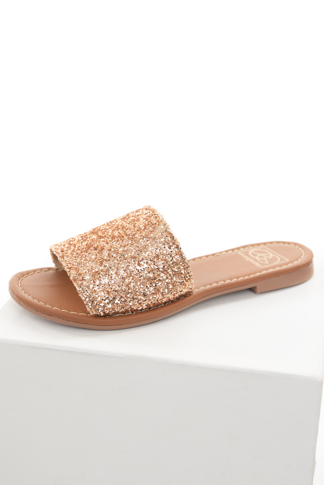 Rose Gold Glitter Large Strap Slip On Sandals with Open Toe