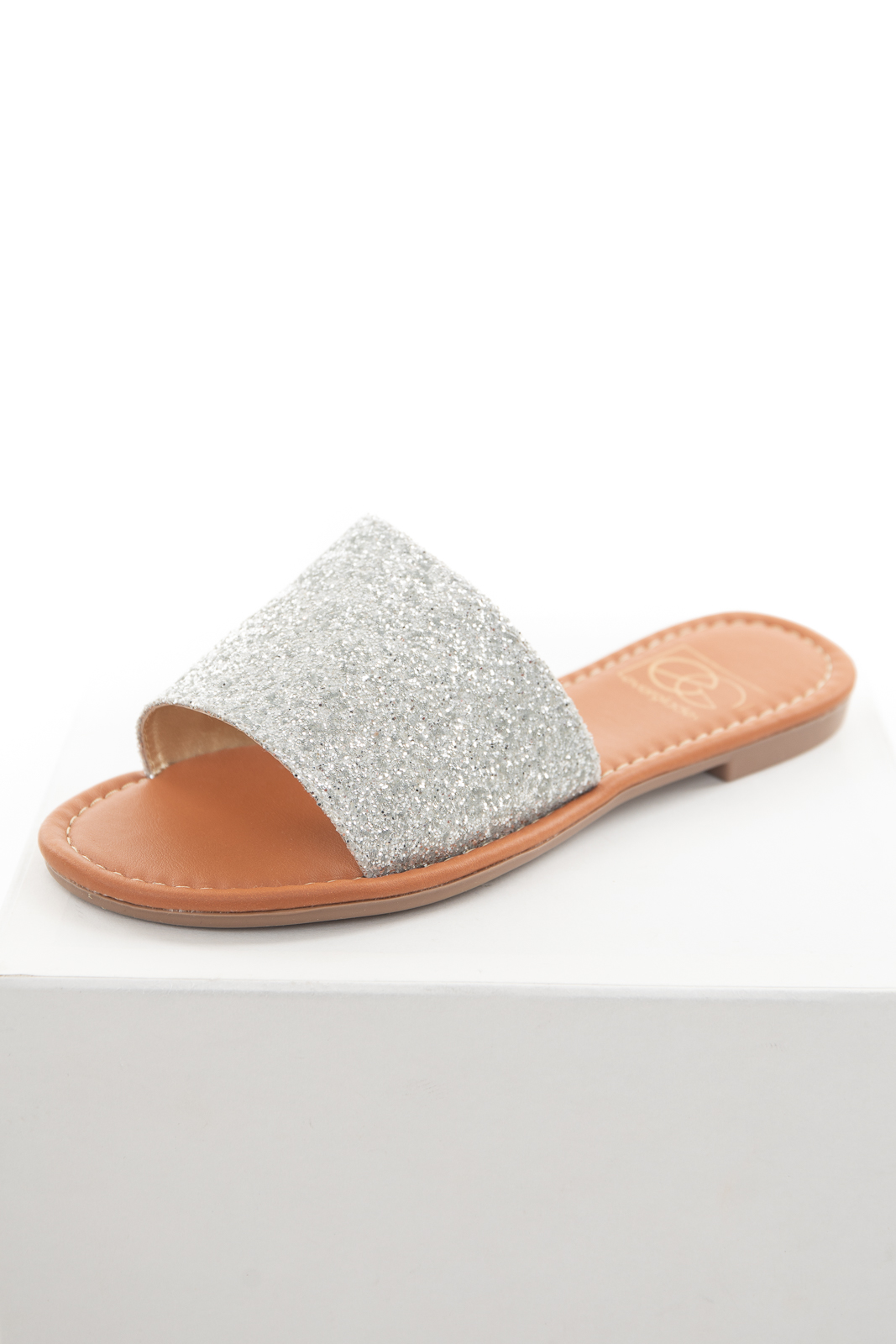 Silver Glitter Large Strap Slip On Sandals with Open Toe