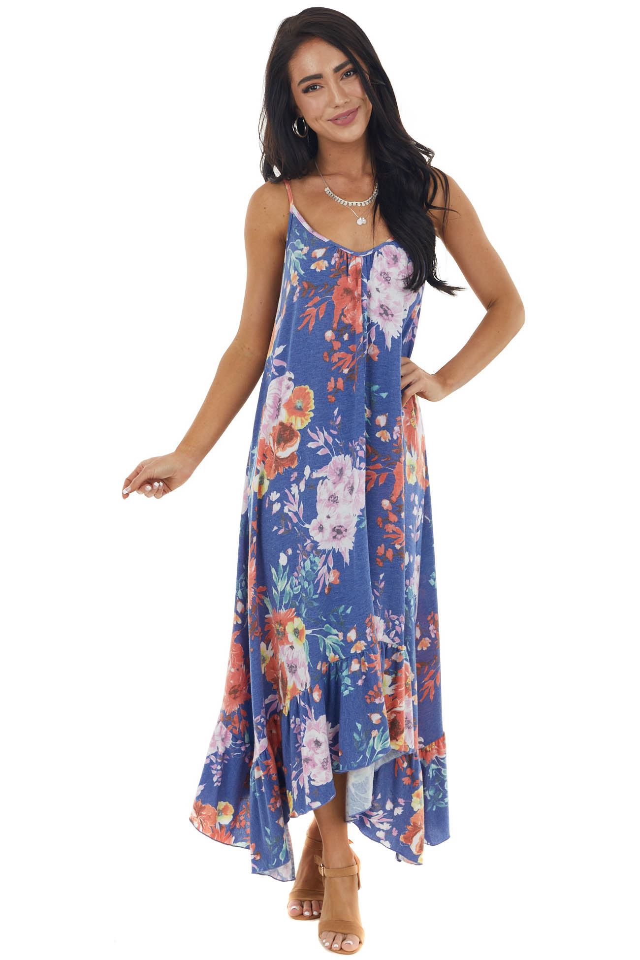 Sapphire Floral Sleeveless Maxi Dress with Rounded V Neck