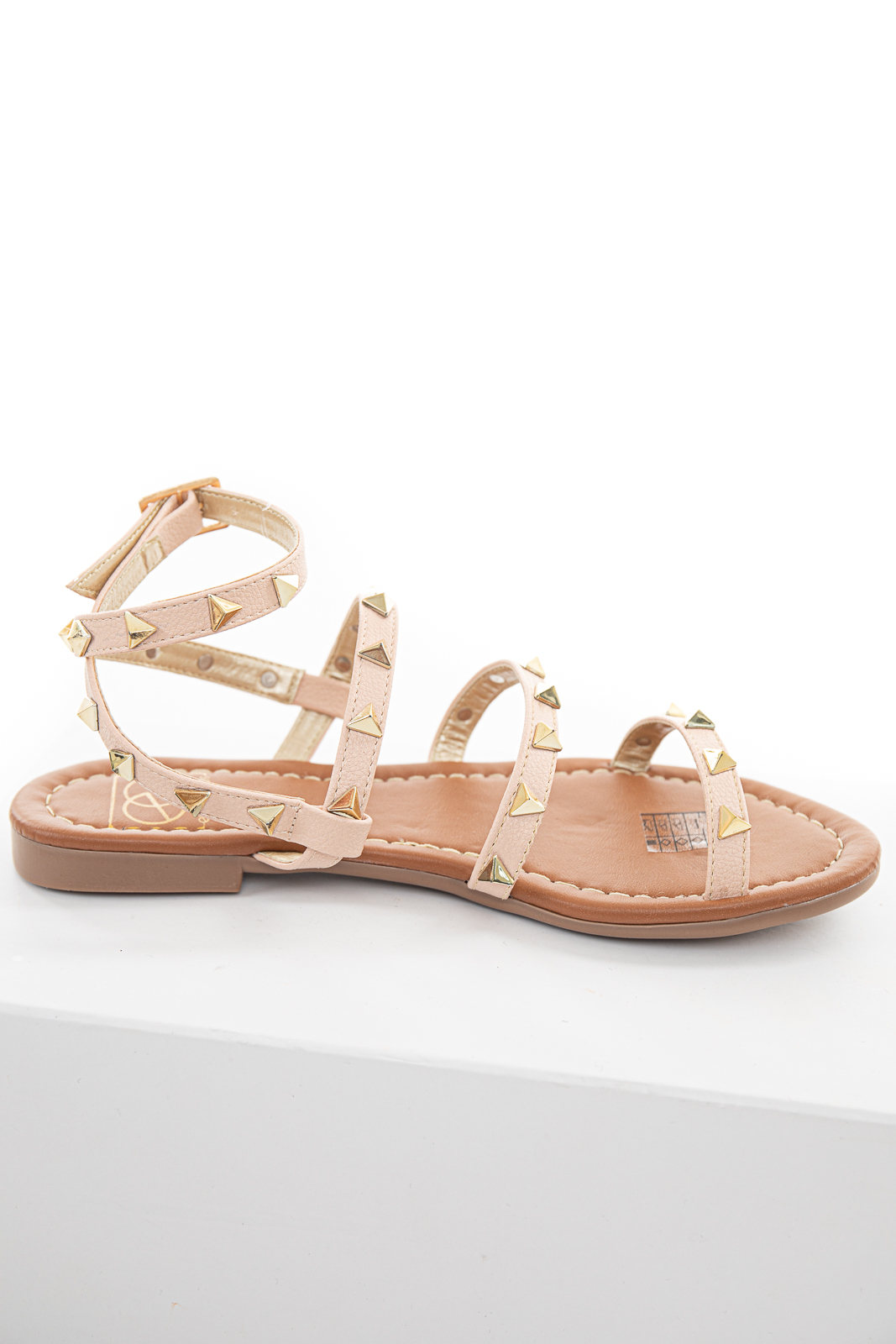 Dusty Blush and Gold Triangle Studded Strappy Sandals
