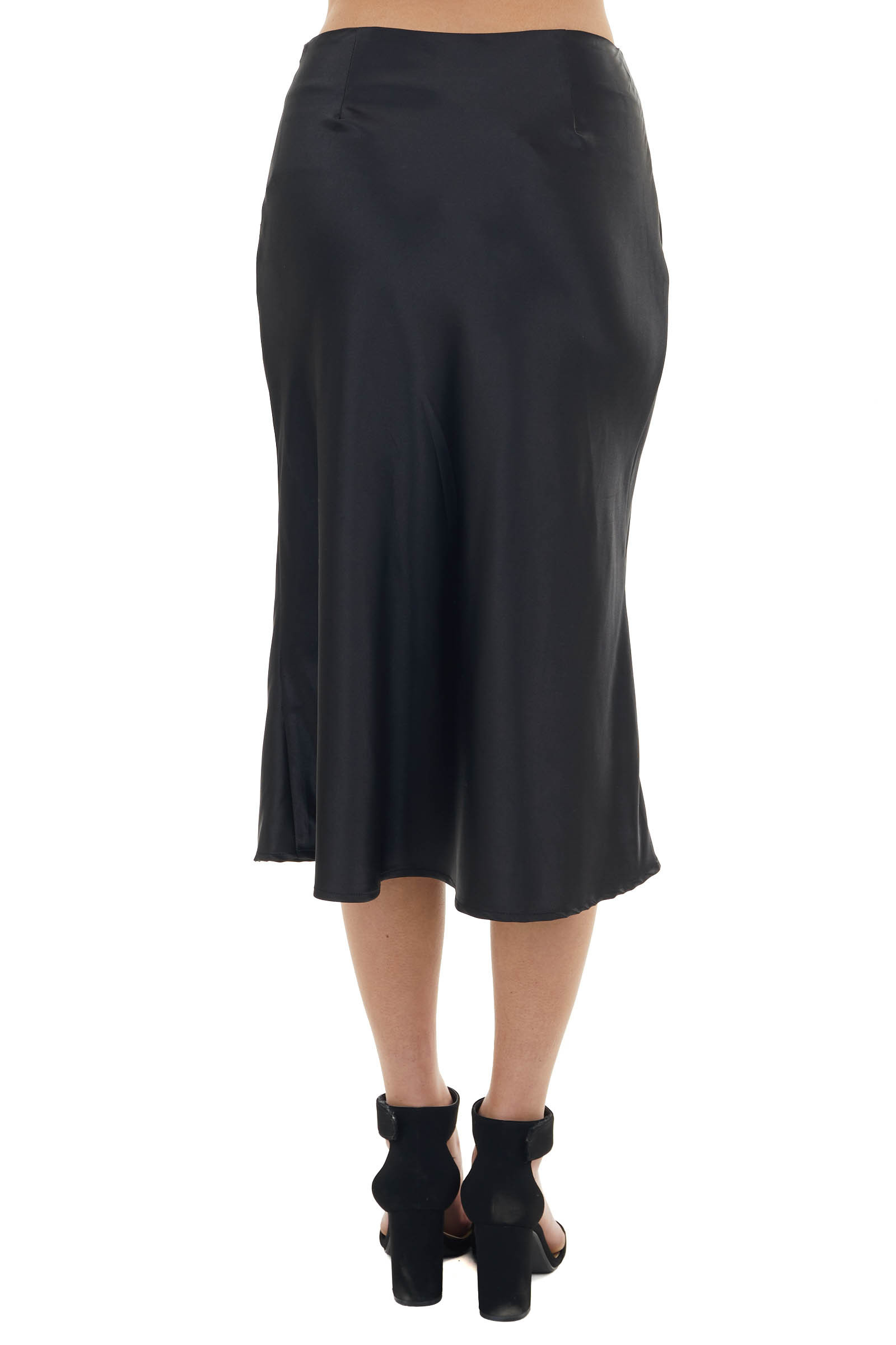 Black Woven Chiffon Fitted Midi Skirt with Zip Closure