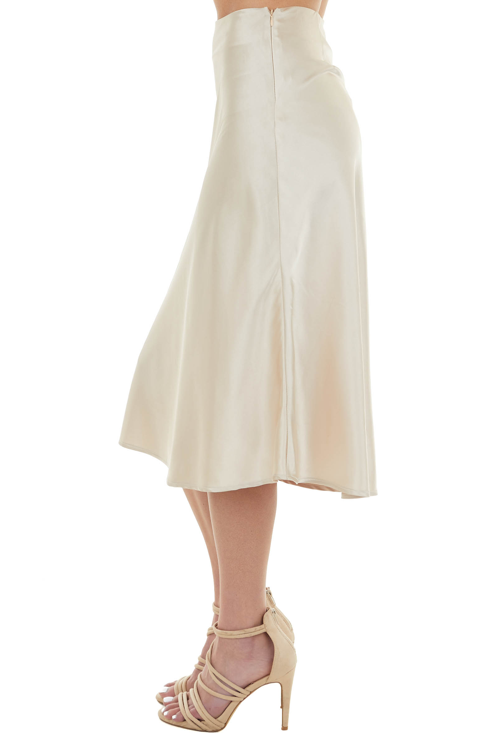 Champagne Woven Chiffon Fitted Midi Skirt with Zip Closure