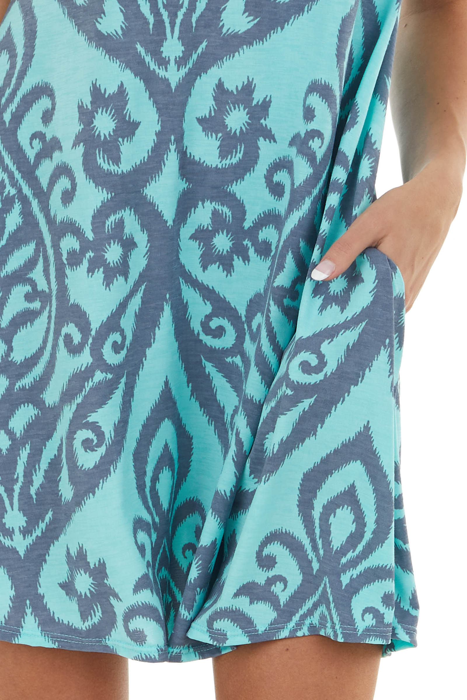 Mint Printed Short Sleeve Short Dress with Pockets