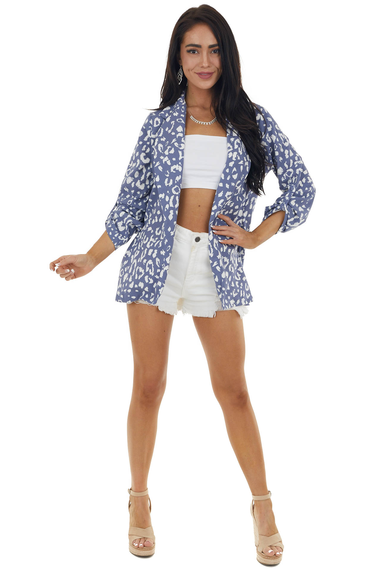 Dusty Blue and Pearl Leopard Print Woven Open Front Blazer