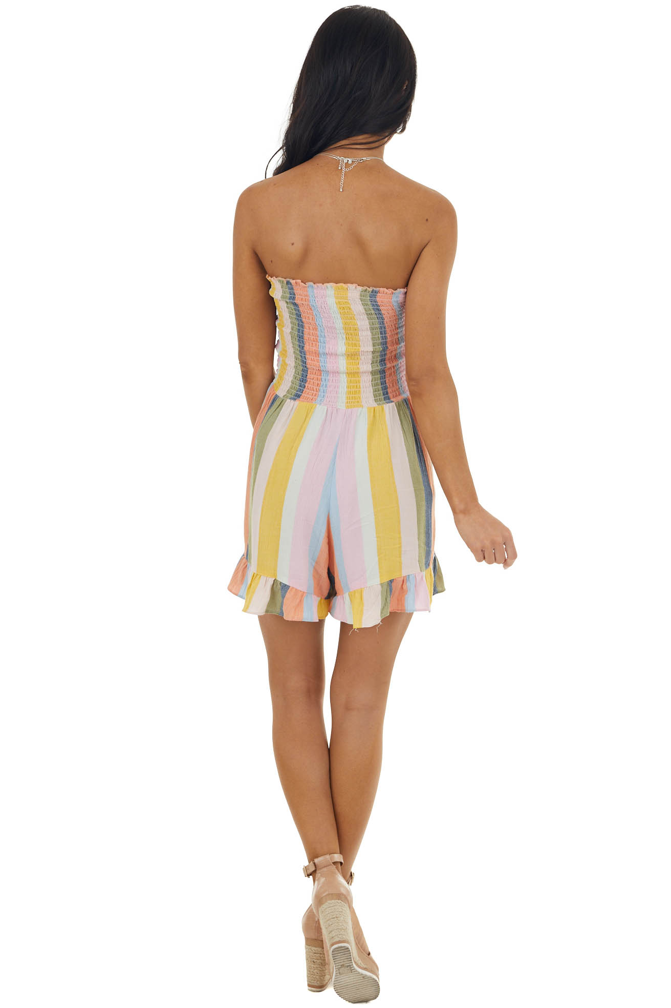 Multicolor Striped Strapless Romper with Smocked Bodice