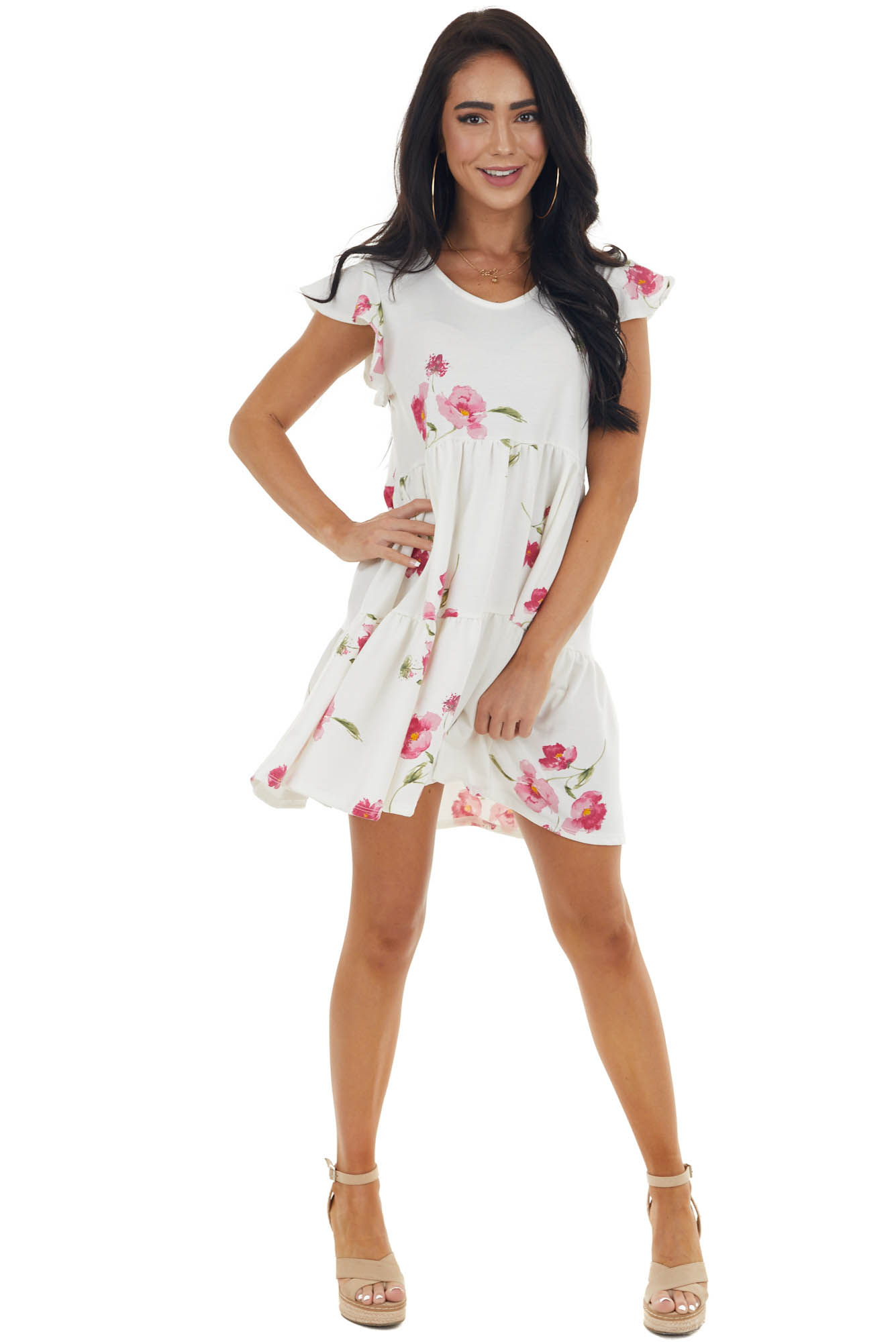 Ivory and Hibiscus Floral Print Knit Baby Doll Mini Dress